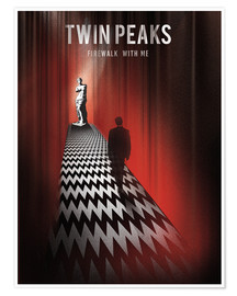 Poster  Twin peaks illustration retro tv serie inspired art - Golden Planet Prints
