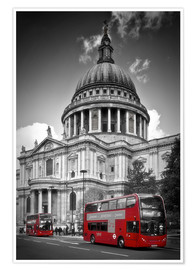 Premium-Poster LONDON St. Paul's Cathedral und Red Bus