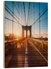 Holzbild  Brooklyn Bridge im Sonnenlicht in New York City, USA - Jan Christopher Becke