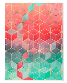 Poster Rose And Turquoise Cubes
