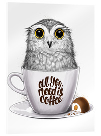 Acrylglasbild  Owl you need is coffee - Nikita Korenkov