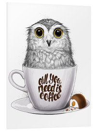 Hartschaumbild  Owl you need is coffee - Nikita Korenkov
