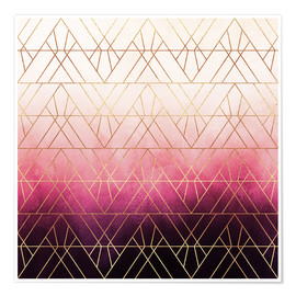 Poster  Pink Ombre Triangles - Elisabeth Fredriksson