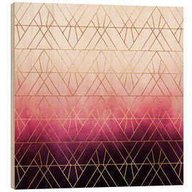 Holzbild  Pink Ombre Triangles - Elisabeth Fredriksson