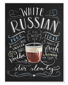 Premium-Poster  White Russian Rezept (Englisch) - Lily & Val