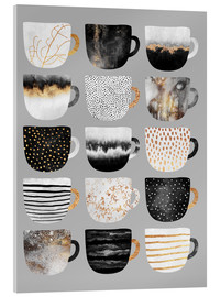 Acrylglasbild  Pretty Coffee Cups Grey - Elisabeth Fredriksson