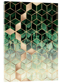 Acrylglasbild  Leaves And Cubes - Elisabeth Fredriksson