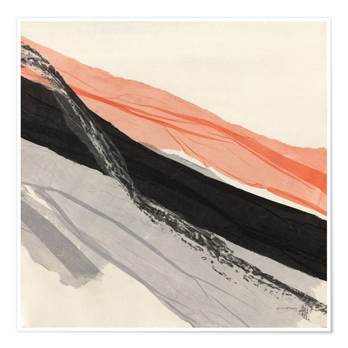 Premium-Poster Peach and Black abstract