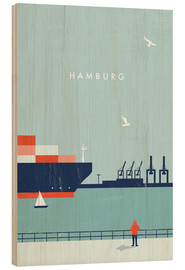 Holzbild  Hamburg Illustration - Katinka Reinke