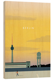 Holzbild  Berlin - Tempelhofer Feld Illustration - Katinka Reinke