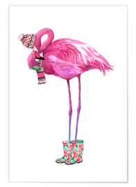 Premium-Poster  Rosafarbener Flamingo mit Gummistiefeln - Kidz Collection