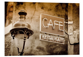 Forex  Cafe sign and lamp post, Paris, France. - age fotostock