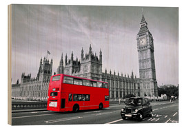 Holzbild  Red Bus auf Westminster Bridge - Art Couture